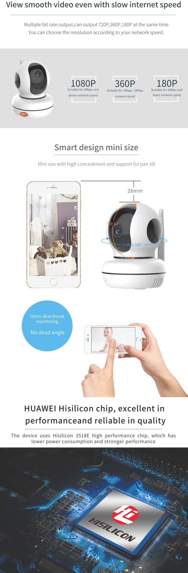 Privacy Network Camera WIFI p2p Two way Audio Home Security Surveillance Camera 7