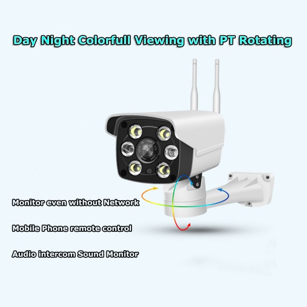 1080P Bullet IP Camera with Motion Detection PT Rotating Bracket Smart Day Night IR LED 2