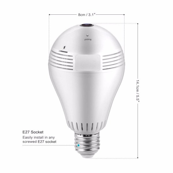 Bulb Shape Mini Camera 960P P2P ONVIF 360° Panoramic Two Way Audio Home Security Camera 3