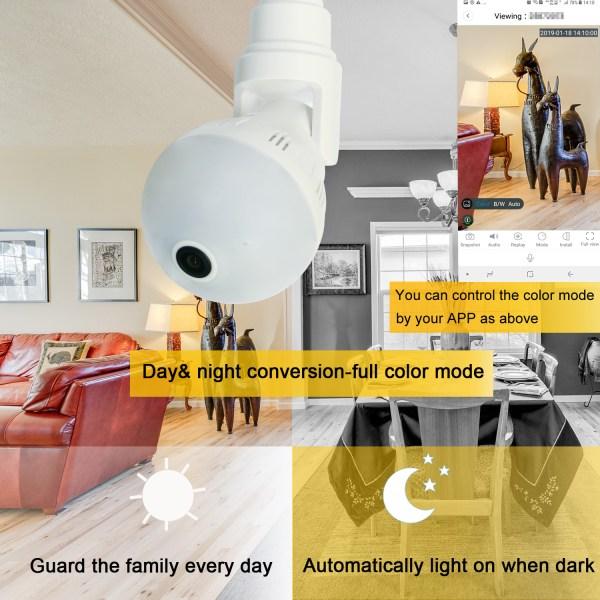 Wireless E27 Bulb WIFI Camera Panoramic 360Degree Mini IR CUT Home Security CCTV Camera 2MP 3MP 5MP Optional 2