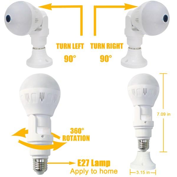 Wireless E27 Bulb WIFI Camera Panoramic 360Degree Mini IR CUT Home Security CCTV Camera 2MP 3MP 5MP Optional 7