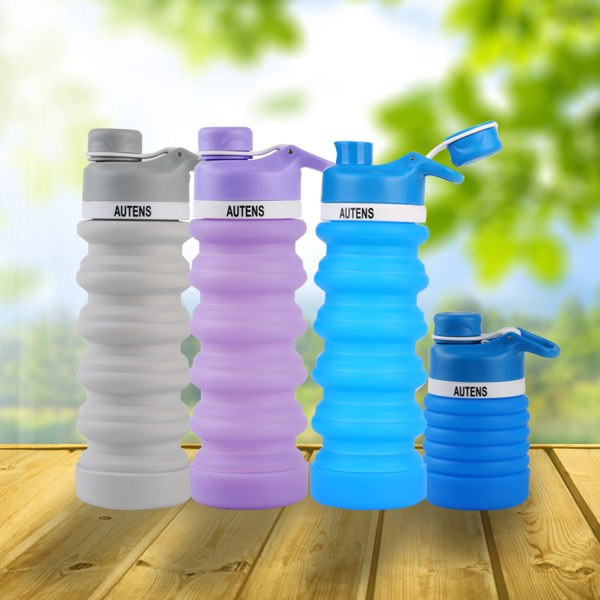 Collapsible Water Bottle 550ml, Leak Proof, BPA Free, FDA Approved, Wide Mouth, Lightweight Food-Grade Silicone 1