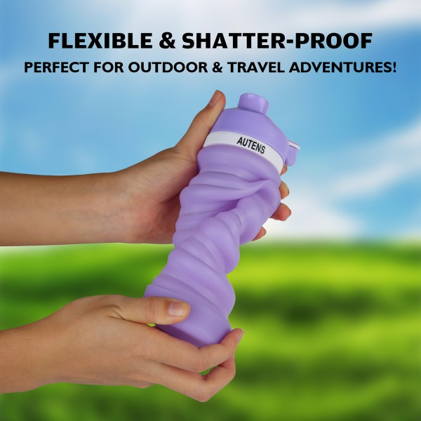 Collapsible Water Bottle 550ml, Leak Proof, BPA Free, FDA Approved, Wide Mouth, Lightweight Food-Grade Silicone 10