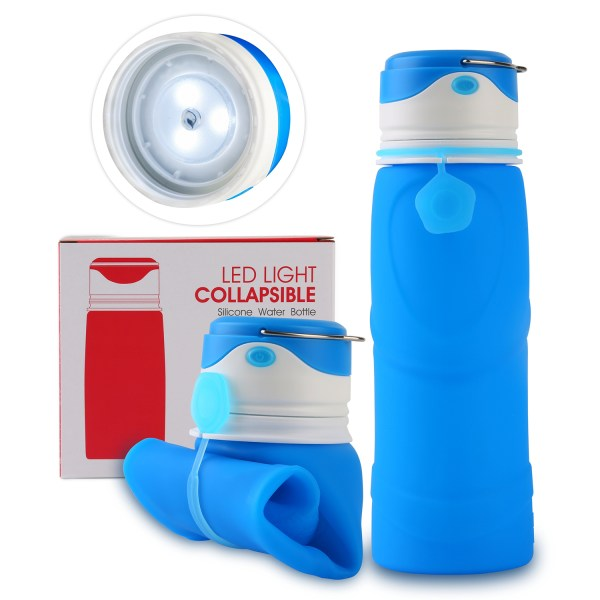 Collapsible Water Bottle BPA Free Wide Mouth 750ml with LED Light USB Charging 3 Lighting Modes 1