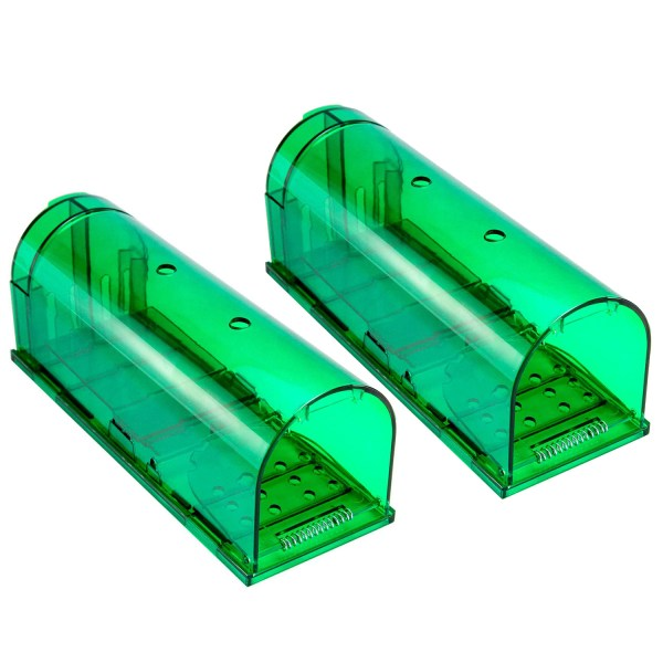 Humane Mouse Trap, Live Catch and Release, No Kill, Best for Small Rats, Mice, Hamsters, Mole - 2 Pack Green 1