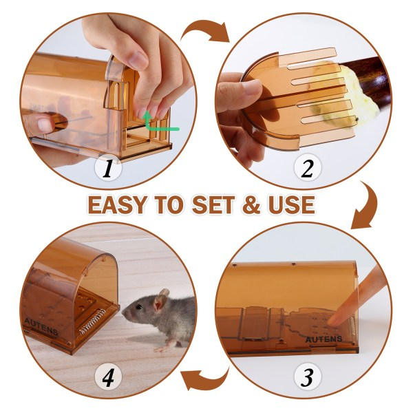 Humane Mouse Trap, Live Catch and Release, No Kill, Best for Small Rats, Mice, Hamsters, Mole - 2 Pack Brown 5