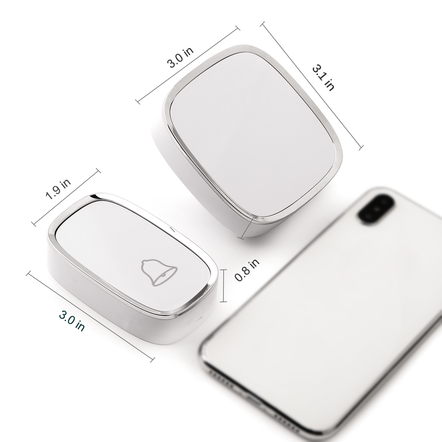 Melodies 36 Wireless Door Bell Chime White//Silver Plug In 200m Range