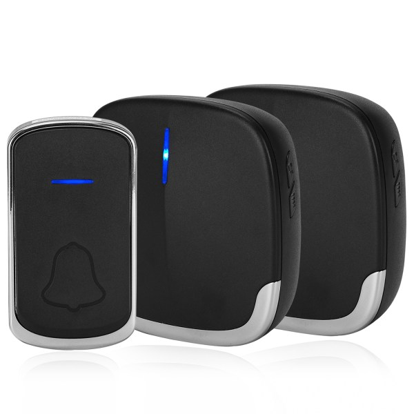 Wireless Doorbell Black for Home Classroom Business, 58 Melodies, 5 Levels Volume, 850 Ft Range 2