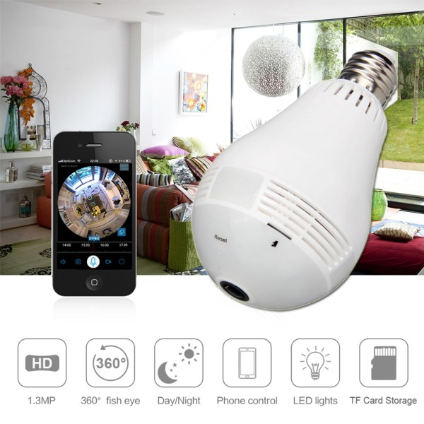 Bulb Shape Mini Camera 960P P2P ONVIF 360° Panoramic Two Way Audio Home Security Camera 2