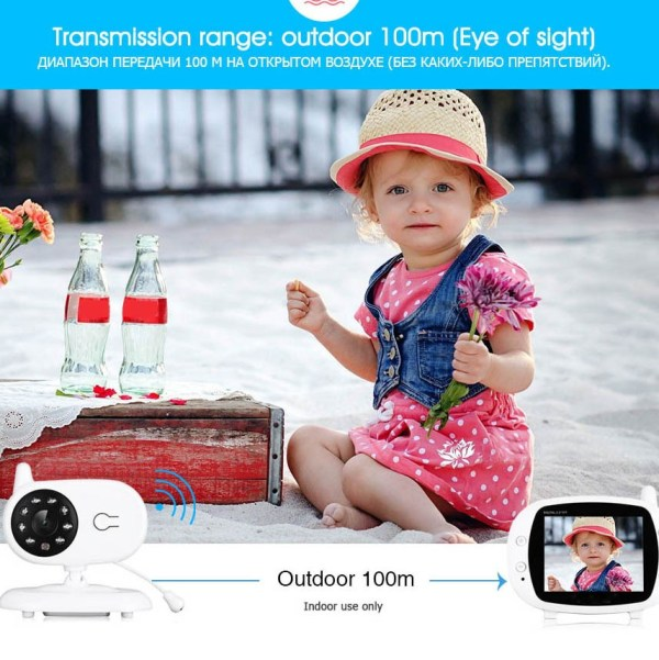 3.5inch Wireless Baby Monitor Support Temperature Detect Two Way Audio Video Intercom with Lullabies Baby Camera 8