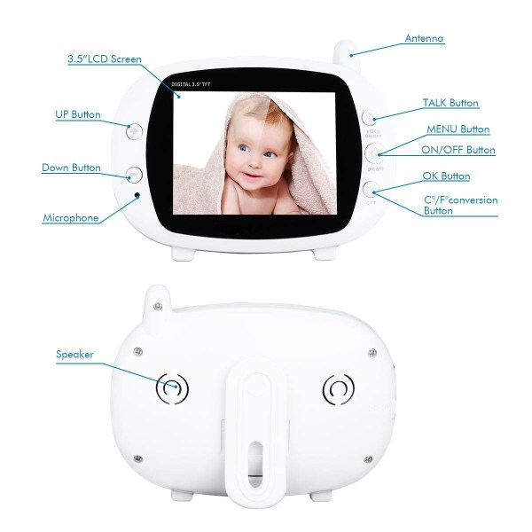 3.5inch Wireless Baby Monitor Support Temperature Detect Two Way Audio Video Intercom with Lullabies Baby Camera 2