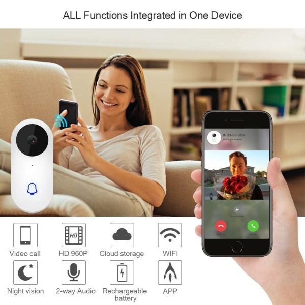 Video Doorbell Waterproof Wifi Wireless Video Intercom System with Indoor Chime Door Phone Camera 2