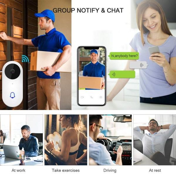 Video Doorbell Waterproof Wifi Wireless Video Intercom System with Indoor Chime Door Phone Camera 6
