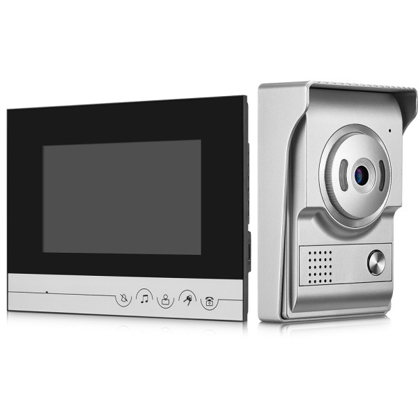 Video Intercom System 7'' Monitor Door phone Camera with 25 Ring Bell Elegant Design for Home Security 1