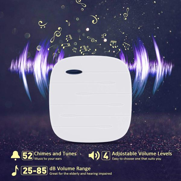 Wireless Doorbell Chime Kit White with 4 Volume Level 52 Melodies Chimes 850ft Range 3