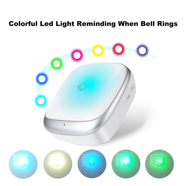 Self-Powered Wireless Doorbell Waterproof Colorful LED Flash 38 Chimes 4 Volumes 5