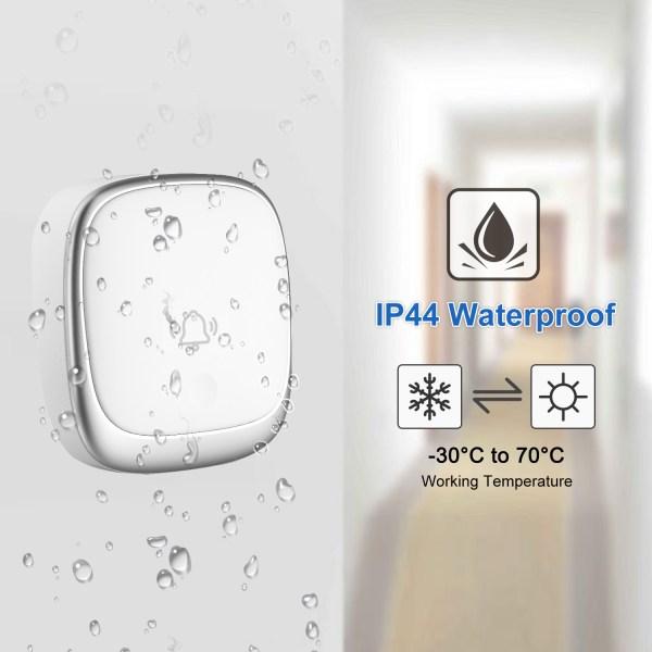 Self-Powered Wireless Doorbell Waterproof Colorful LED Flash 38 Chimes 4 Volumes 6