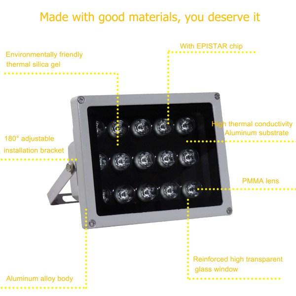 IR Illuminator 850nm 15-LED IR Infrared Light with Power Adapter for CCTV Camera (90 Degree) 4