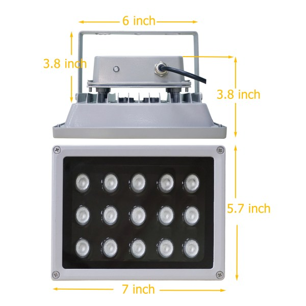 IR Illuminator 850nm 15-LED IR Infrared Light with Power Adapter for CCTV Camera (90 Degree) 7