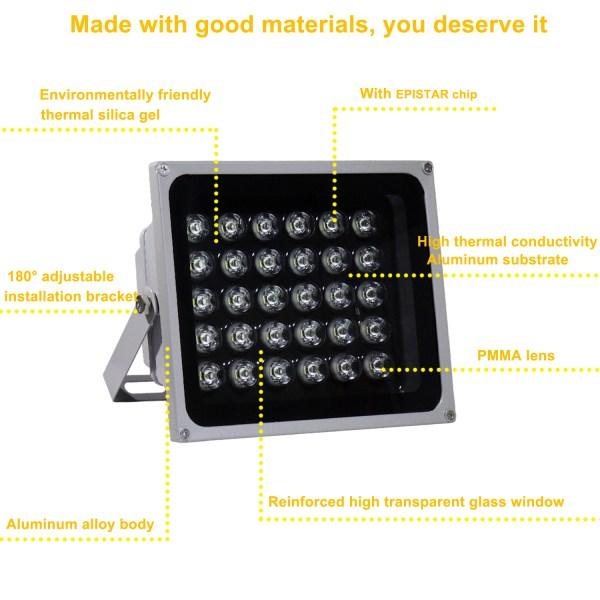 IR Illuminator 850nm 30-LED IR Infrared Light with Power Adapter for CCTV Camera (90 Degree) 4