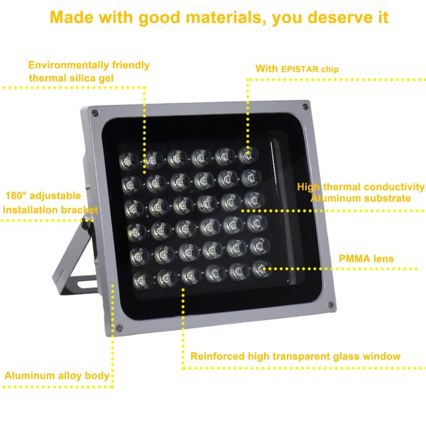 IR Illuminator 850nm 36-LED IR Infrared Light with Power Adapter for CCTV Camera (90 Degree) 4
