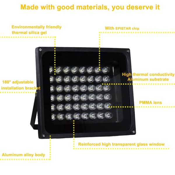 IR Illuminator 850nm 48-LED IR Infrared Light with Power Adapter for CCTV Camera (90 Degree) 4
