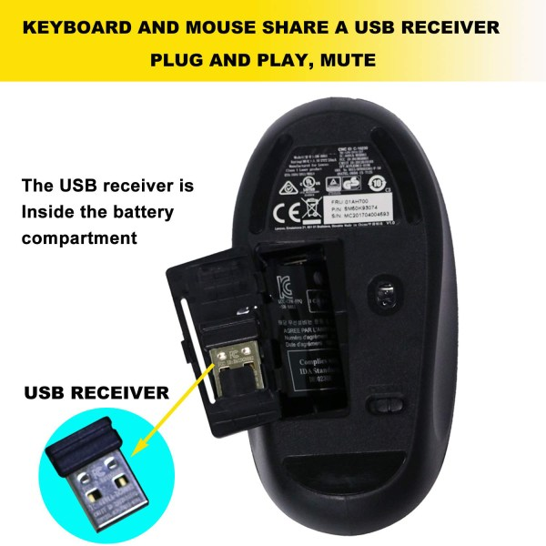 Wireless Keyboard for Lenovo IBM US Keyboard SK-8861 and Mouse Combo 25209175 4
