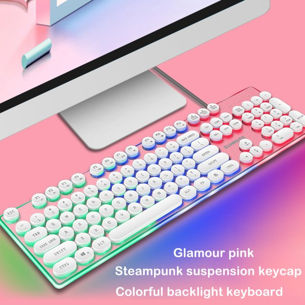 Gaming Keyboard Mechanical Feeling USB Wired RGB Colorful Backlight 104 Key for PC Mac Laptop 2