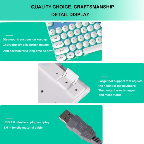 Gaming Keyboard Mechanical Feeling USB Wired RGB Colorful Backlight 104 Key for PC Mac Laptop 7