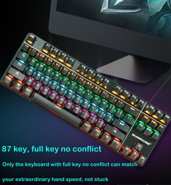 Mechanical Gaming Keyboard 87 Keys Small Compact Rainbow Backlit Spill-Resistant Keyboard USB Wired 2