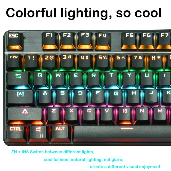 Mechanical Gaming Keyboard 87 Keys Small Compact Rainbow Backlit Spill-Resistant Keyboard USB Wired 5