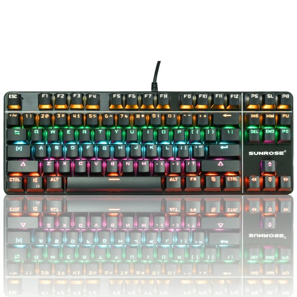 Mechanical Gaming Keyboard 87 Keys Small Compact Rainbow Backlit Spill-Resistant Keyboard USB Wired 1
