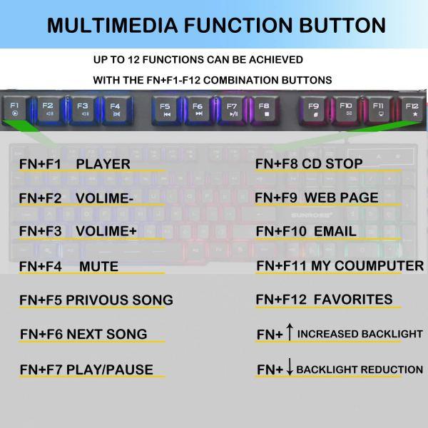 Gaming Keyboard Mechanical Feeling USB Wired Rainbow Backlight Standard 104 Key 9