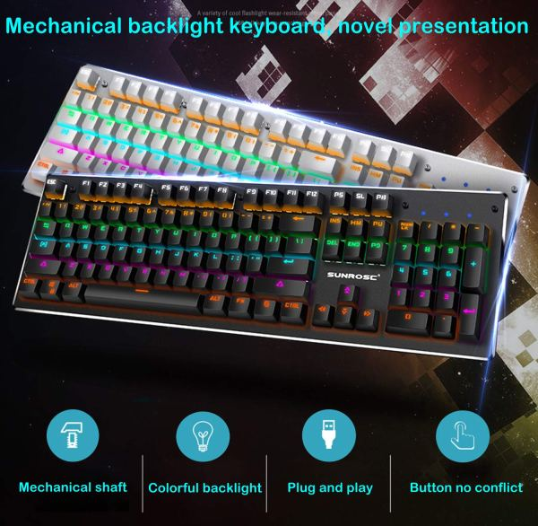 Mechanical Gaming Keyboard Rainbow LED Backlit USB Wired Keyboard with Aluminum Alloy Panel, Blue Switch 4