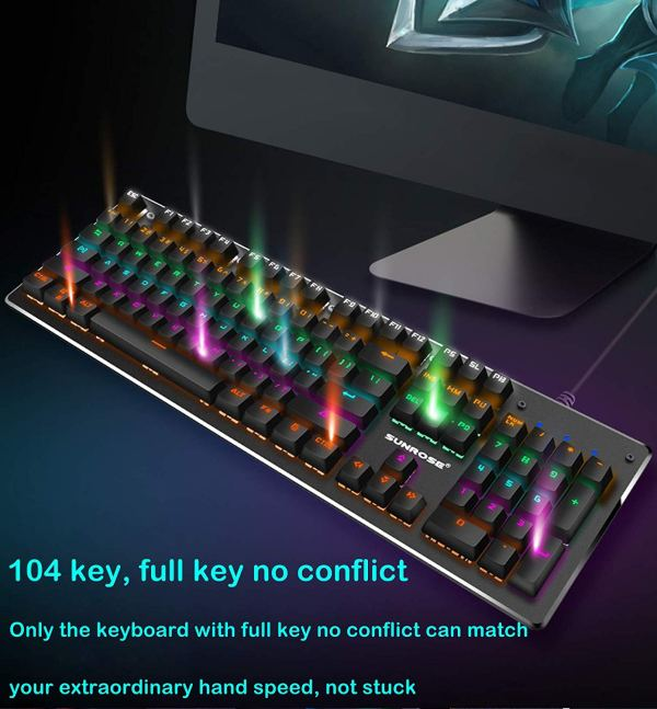 Mechanical Gaming Keyboard Rainbow LED Backlit USB Wired Keyboard with Aluminum Alloy Panel, Blue Switch 5