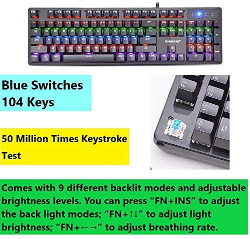 Mechanical Gaming Keyboard Rainbow LED Backlit USB Wired Keyboard Blue Switch Spill-Resistant 4
