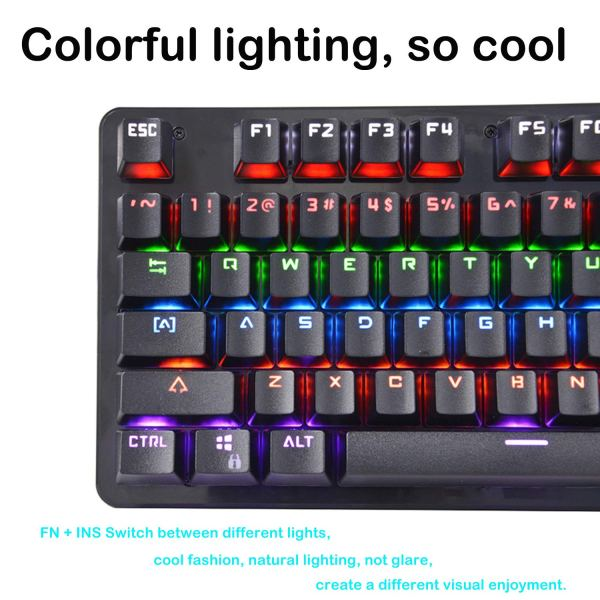 Mechanical Gaming Keyboard Rainbow LED Backlit USB Wired Keyboard Blue Switch Spill-Resistant 5
