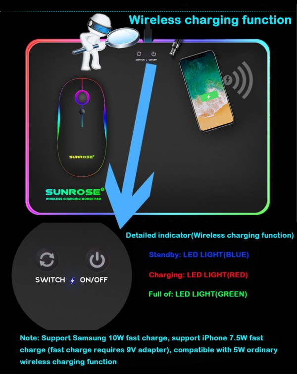RGB Mouse Pad Qi 10W Fast Wireless Phone Charging LED Backlit Gaming Mouse Mat 3