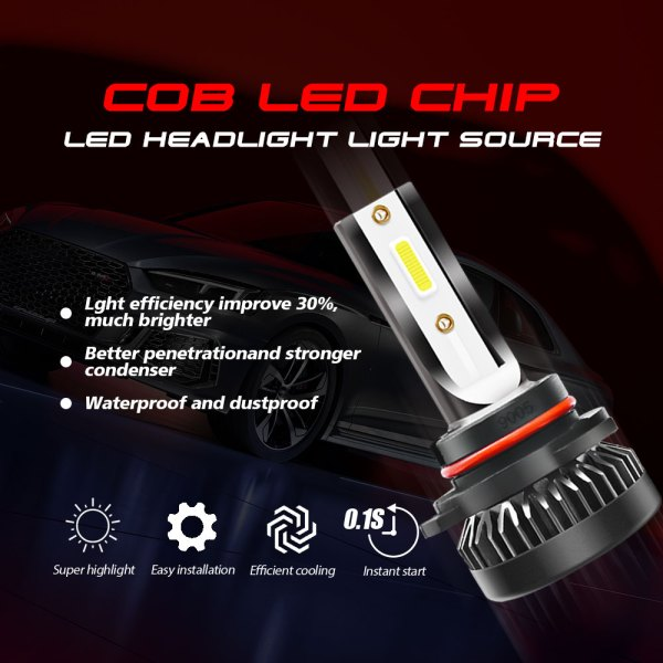 LED Headlight Bulbs Conversion Kit 9005 HB3 H10 6000K Cold White All in One 4