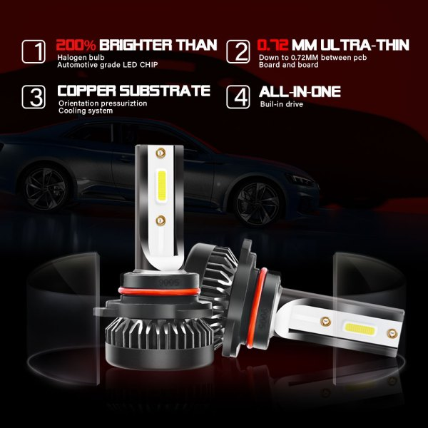 LED Headlight Bulbs Conversion Kit 9005 HB3 H10 6000K Cold White All in One 5