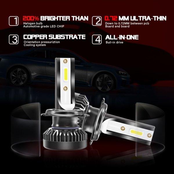 H7 LED Headlight Bulbs Conversion Kit 6000 K Cold White 360°Adjustable Beam 5