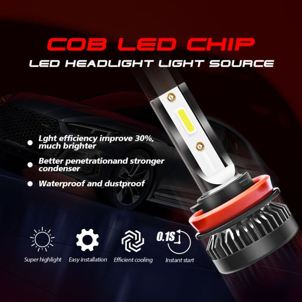 H8 H9 H11 LED Headlight Bulbs Conversion Kit 6000 K Cold White All in One Model 4