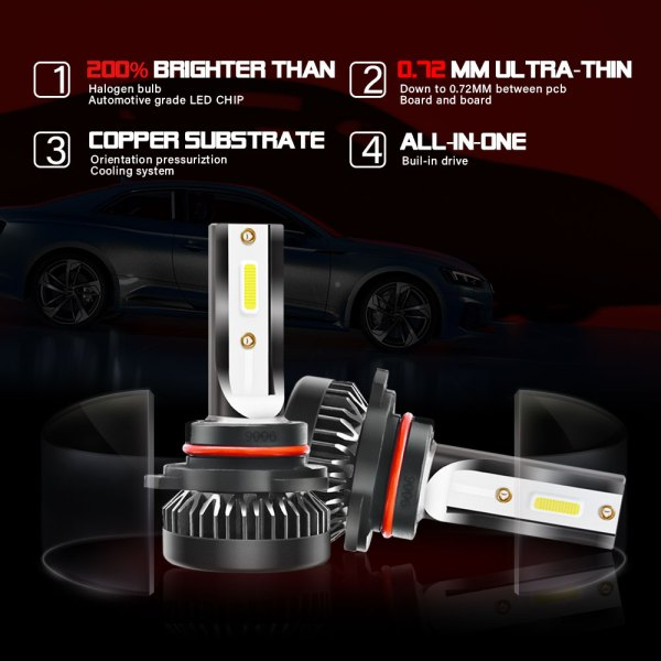 LED Headlight Bulbs Conversion Kit Beam 9006/HB4 6000K Cold White All in One 5