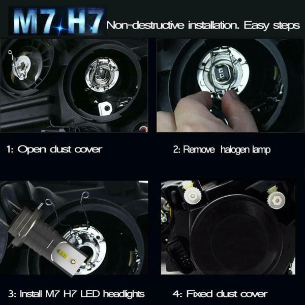 LED Car Headlight Conversion Kit H7 6000K 110W 30000LM Globes Canbus Bulbs Beam 3