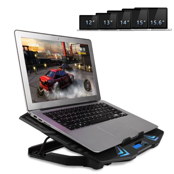 Laptop Cooling Pad Cooler 6 Fans 2 USB Port LCD Screen Fits 12-15.6 Inch Laptop 6