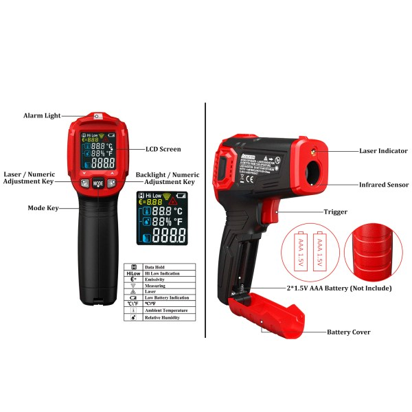 AUTENS Infrared Thermometer Tester, Non-Contact IR Digital Temperature Gun for Range -50°C~550°C / -58°F~1022°F with IR and Ambient Temperature, Humidity Measuring 2