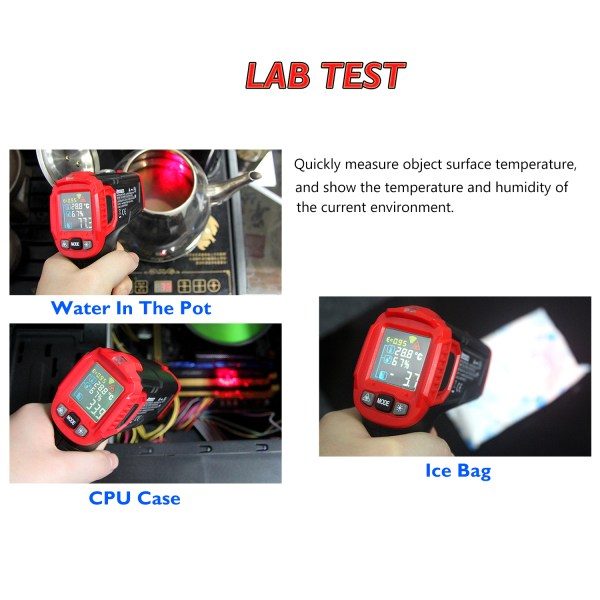 AUTENS Infrared Thermometer Tester, Non-Contact IR Digital Temperature Gun for Range -50°C~550°C / -58°F~1022°F with IR and Ambient Temperature, Humidity Measuring 4