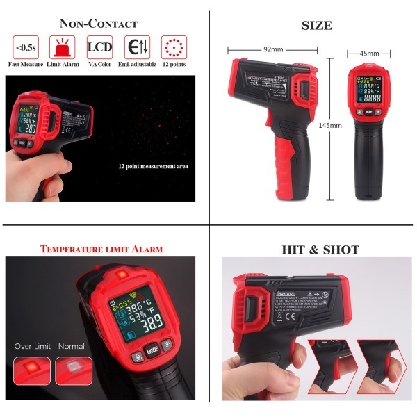AUTENS Infrared Thermometer Tester, Non-Contact IR Digital Temperature Gun for Range -50°C~550°C / -58°F~1022°F with IR and Ambient Temperature, Humidity Measuring 5