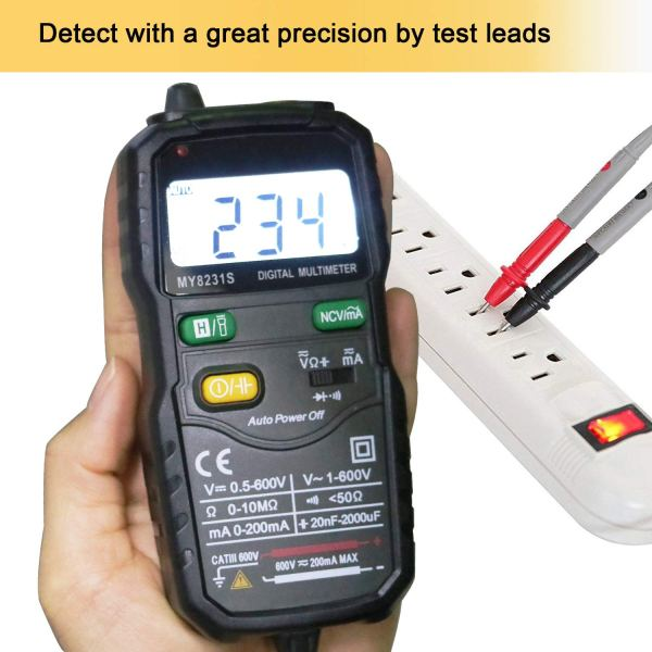 Mini Digital Multimeter,Portable Hand held Tester for Resistance Capacitance Auto Smart Detector 3
