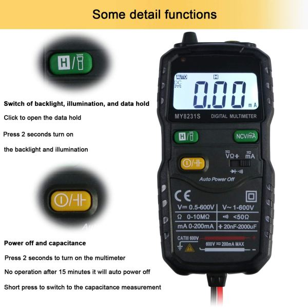 Mini Digital Multimeter,Portable Hand held Tester for Resistance Capacitance Auto Smart Detector 7